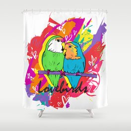 Rainbow Lovebirds Shower Curtain