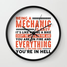 Being a HVAC Tech Is Easy Shirt Everything On Fire Wall Clock