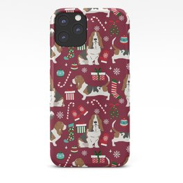 Basset Hound christmas pattern christmas dog breed pet friendly gifts iPhone Case