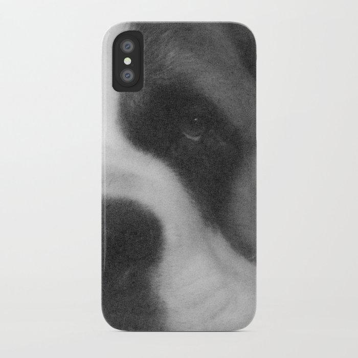 St. Bernard Portrait -- Black & White iPhone Case