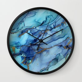 Mermaid Party Blue Marble Abstract Ink Wall Clock