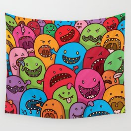 Illustrated Monsters Print Wall Tapestry