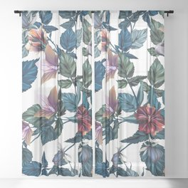 Beautiful vector hibiscus tropical pattern Sheer Curtain