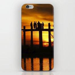 Sunset at U Bein Bridge, Myanmar iPhone Skin