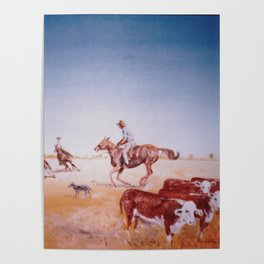 Rousting the Cattle, AUSTRALIA         by Kay Lipton Poster