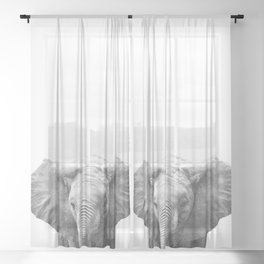 Black and White Baby Elephant Sheer Curtain