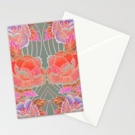 Peonies Pattern with Waves - Red, Pink, Purple, Green Stationery Cards