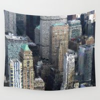 manhattan Wall Tapestries featuring Manhattan Souvenirrs by Françoise Reina
