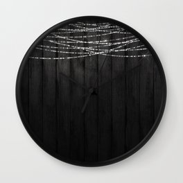 Fairy Lights on Wood 01 Wall Clock
