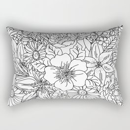 Elegant Hand drawn floral doodles design Rectangular Pillow