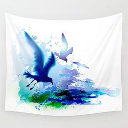Birds flying. Sea, ocean watercolor gulls with waves. Dark blue water. Wall Tapestry