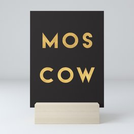 MOSCOW RUSSIA GOLD CITY TYPOGRAPHY Mini Art Print
