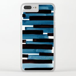 Marine Blue Primitive Striped Mid Century Modern Minimalist Watercolor Gouache Painting Colorful Str Clear iPhone Case
