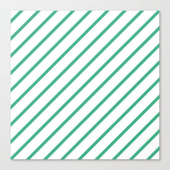Diagonal Lines (Mint/White) Canvas Print