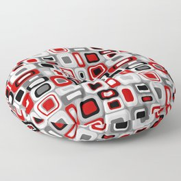 Mid Century Modern Squares and Rectangles // Red, Gray Black, White Floor Pillow