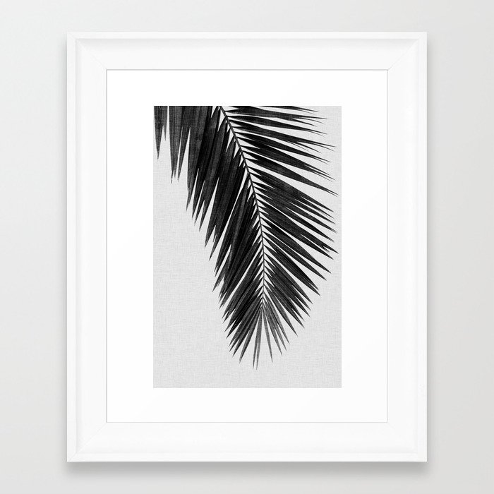 Palm Leaf Black & White I Framed Art Print by paperpixelprints ...