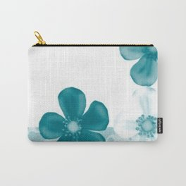 Retro 70s Flowers Turquoise Carry-All Pouch