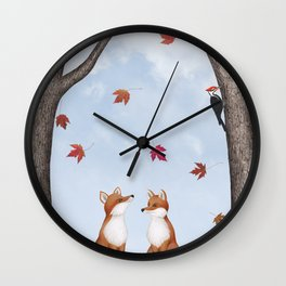 foxes, falling leaves, & pileated woodpecker Wall Clock
