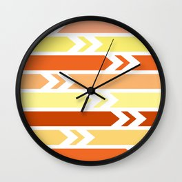 White arrows and colorful stripes Wall Clock