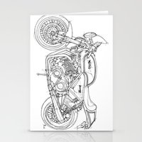 cafe racer Stationery Cards featuring NORTON COMMANDO 961 CAFE RACER 2011 by Larsson Stevensem