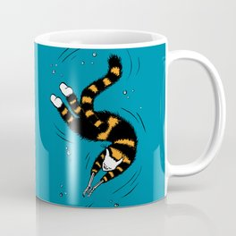 Weird Cat With Bone Hands Swimming Happily Coffee Mug
