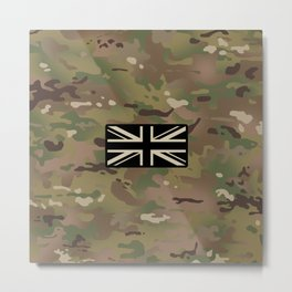 British Flag: Woodland Camouflage Metal Print