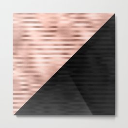 Modern Chic Pink Rose Gold Black Triangle Cut Metal Print