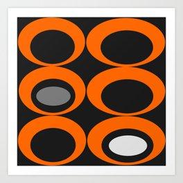 Retro Ovals Print - Orange, Black, Gray and White Art Print
