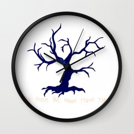 Tree of Life Dark Blue Wall Clock