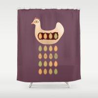 chicken Shower Curtains featuring Chicken by Mira Maijala