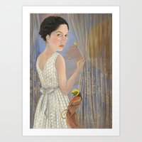 'Lady with a Bird of Paradise' Art Print