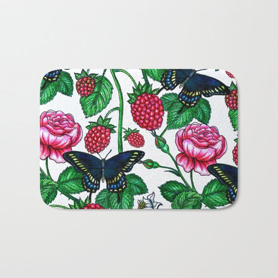 Raspberries pattern Bath Mat