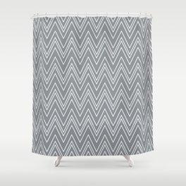 Gray Skinny Chevron Shower Curtain