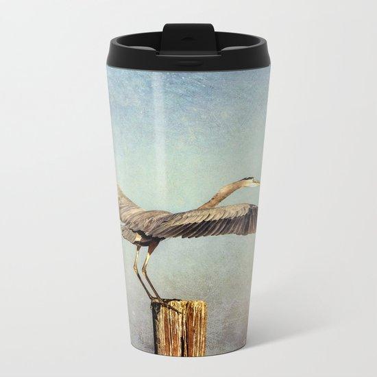 Blue Heron Landing Metal Travel Mug