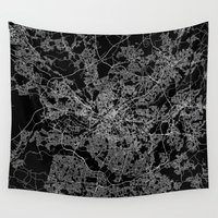 manchester Wall Tapestries featuring Manchester  by Line Line Lines