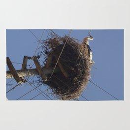 Storks on Electric Pylon  Rug