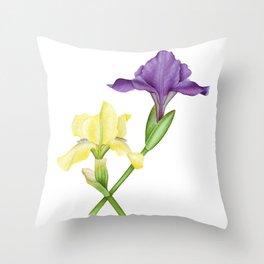 Watercolor irises Throw Pillow