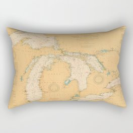Vintage Map of The Great Lakes (1921) Rectangular Pillow