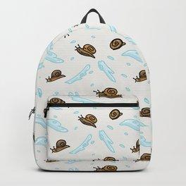 Cute slimy snail cartoon seamless vector pattern. Backpack