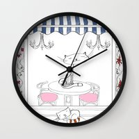 cafe Wall Clocks featuring Cat Cafe by ArtRonin