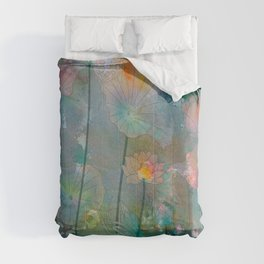 Water Lilies illustration watercolor painting  Comforters