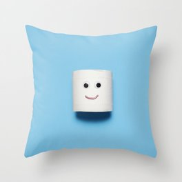 Happy smiling toilet paper on blue Throw Pillow