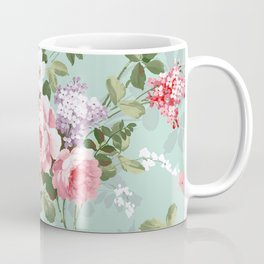 Elegant chic pink green roses flowers pattern Coffee Mug