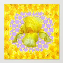ABSTRACT YELLOW SPRING IRIS GOLDEN DAFFODILS FRAME Canvas Print