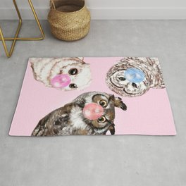 Playful Owls Bubble Gum Gang in Pink Rug