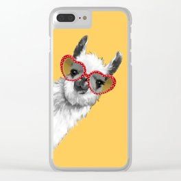 Fashion Hipster Llama with Glasses Clear iPhone Case