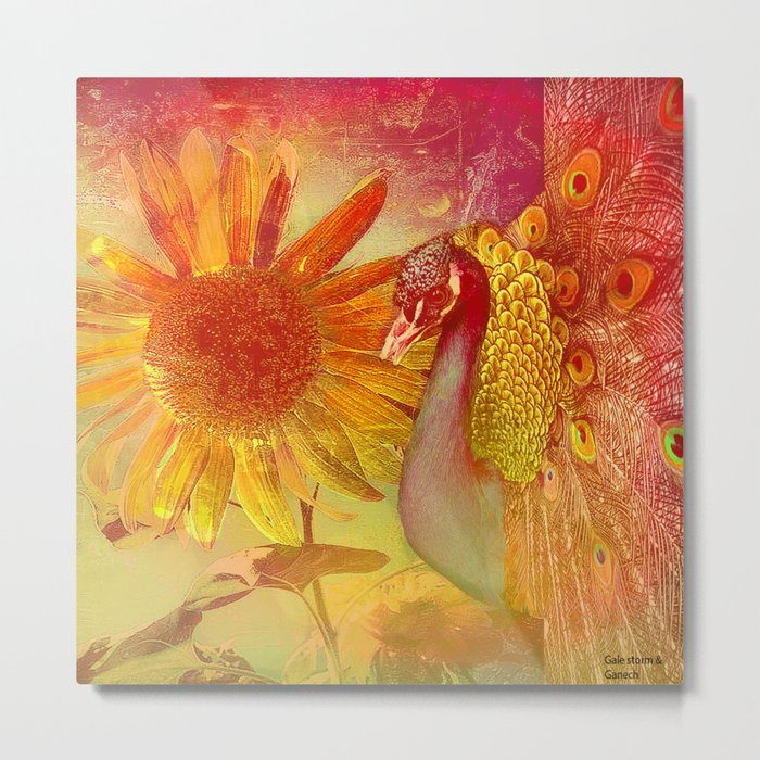 :: Sunflower and Ruebin the Royal Peacock :: by Gale storm and Joe Ganech Metal Print