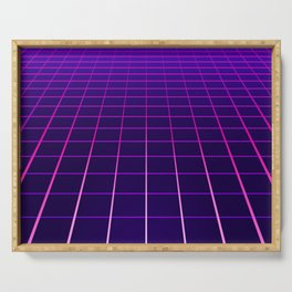 Minimal Synthwave Grid Lines Serving Tray