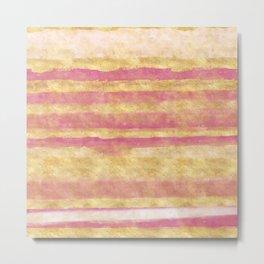 Gold Pink Glitz Stripes Metal Print