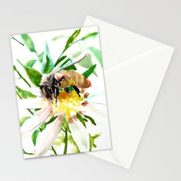 Bee and Flower, Honey Bee, chamomile herbal honey design Stationery Cards